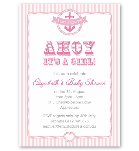 Nautical Baby Shower Invitation for Girls