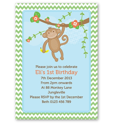 Cheeky Monkey Birthday Invitation