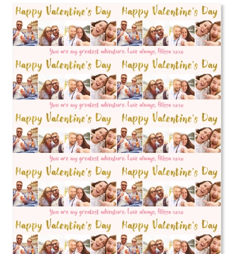 Gold Valentine's Day Wrapping Paper
