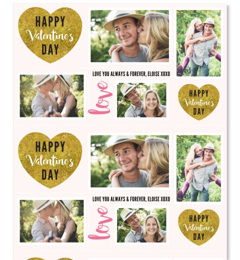 Gold Heart Valentine's Day Wrapping Paper