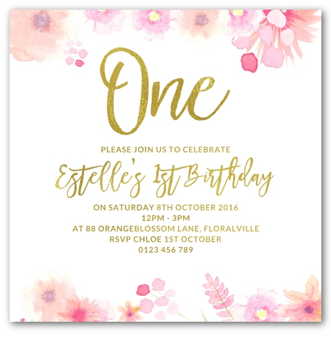 Sweet Florals Gold Foil 1st Birthday Invitation