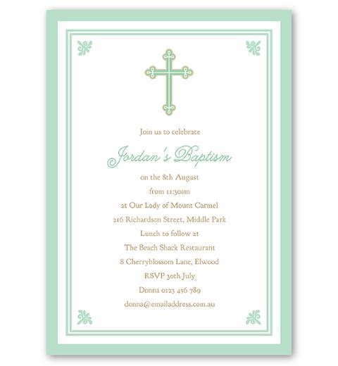 Sweet & Simple Baptism Mint Invitation