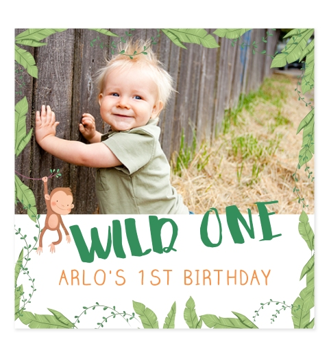 Wild One Photo Birthday Invitation