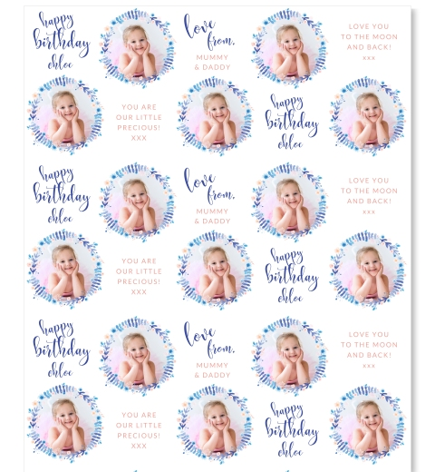 Blue Wreath Birthday Photo Wrapping Paper