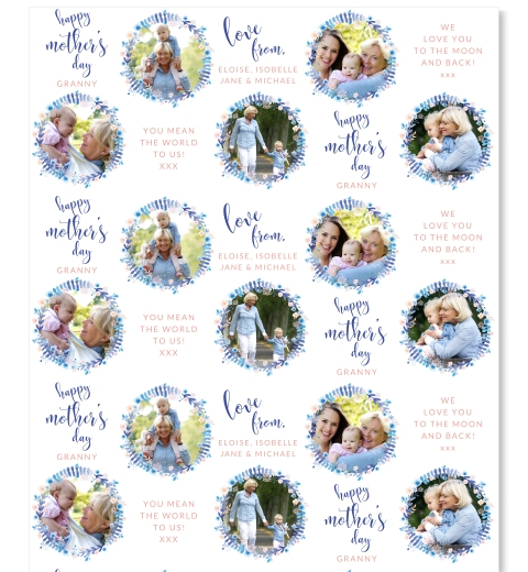 Blue Wreath Mother's Day Wrapping Paper