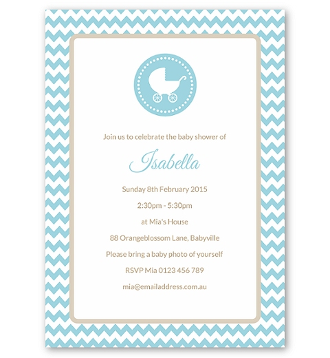 Blue Chevron Baby Shower Invitation