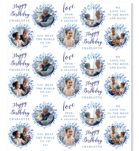 Royal Florals Birthday Photo Wrapping Paper