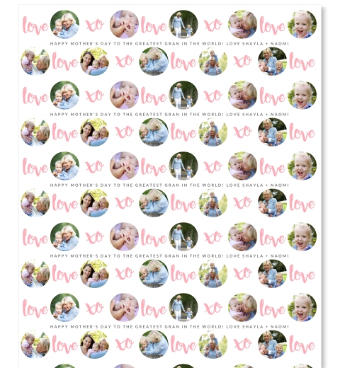 XOXO Mum/Granny Wrapping Paper in Pink
