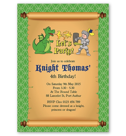 Knights and Dragons Invitation