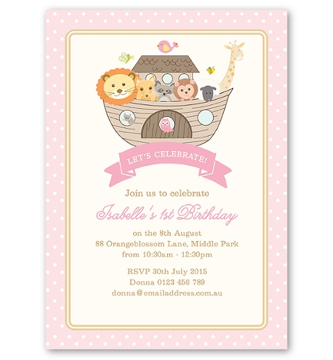 Noah's Ark Pink Birthday Invitation
