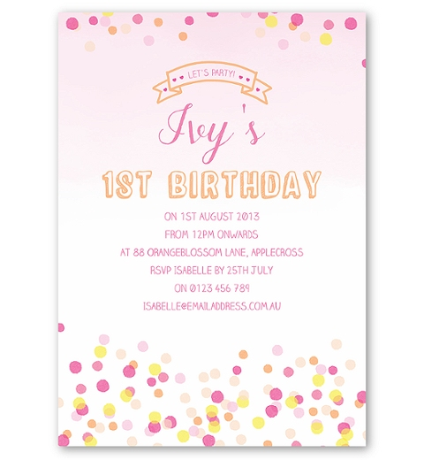 Confetti Birthday Invitation - Pink & Yellow