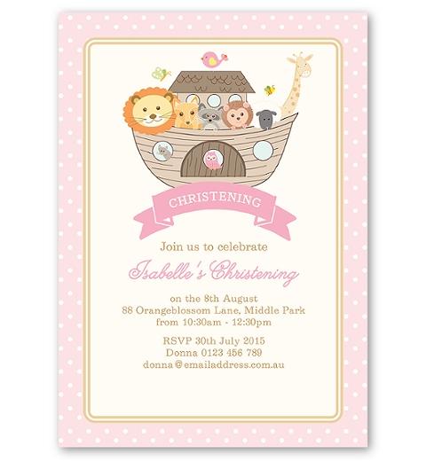 Noah's Ark Pink Christening Invitation