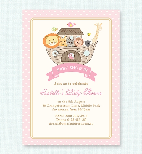 baby shower themes baby shower invitations noah s ark pink baby shower