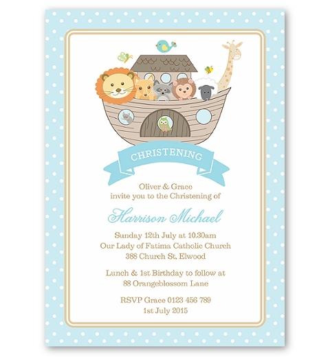 Noah's Ark Blue Christening Invitation