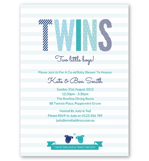 Twins Baby Shower Invitation - Boys