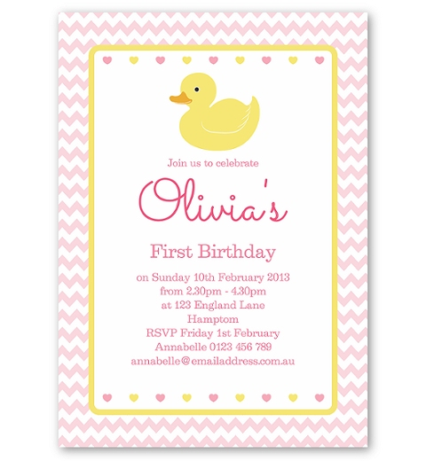 Pink Rubber Ducky Birthday Invitation