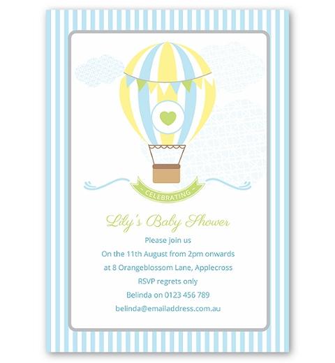 Blue Hot Air Balloon Baby Shower Invitation