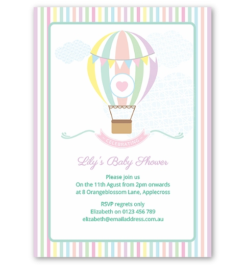 Pastel Hot Air Balloon Baby Shower Invitation