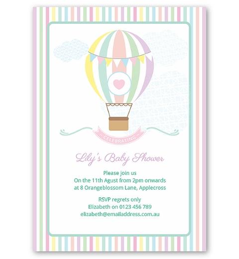 Pastel Hot Air Balloon Baby Shower Invitation