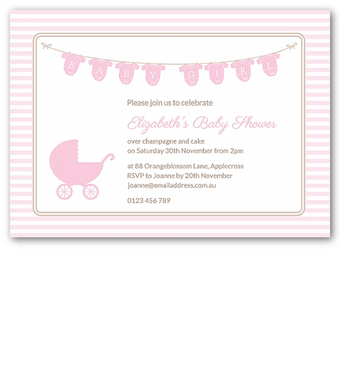 Onsie Baby Shower Invitation in Pink