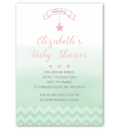 Ombre Chevron Baby Shower Invite in Pink and Mint