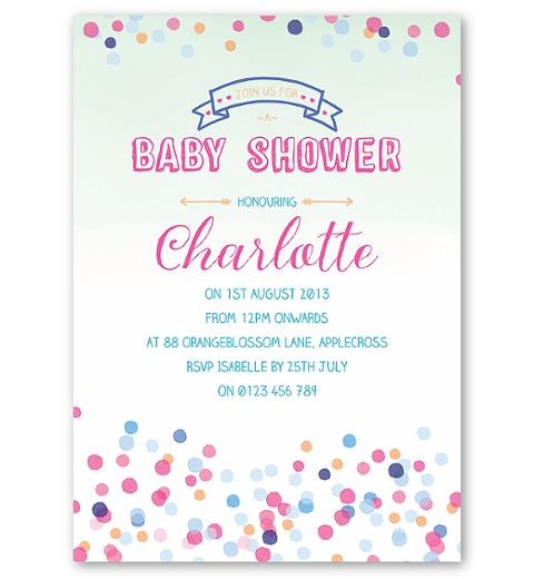 Confetti Baby Shower Invitation in Neutral Colours