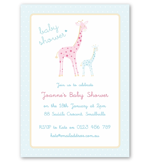 Mama & Bubba Giraffe in Blue Invitation