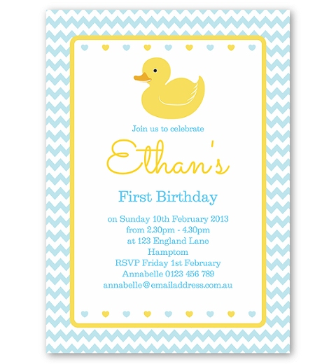 Blue Rubber Ducky Birthday Invitation