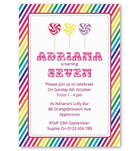 Rainbow Candyland Birthday Invitation