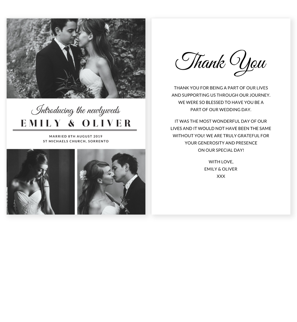 Wedding Thank You Card Wedding Photo Thank You Photo Collage Double Sided Printed Black and White Thank You Card Wedding Photos Newlywed