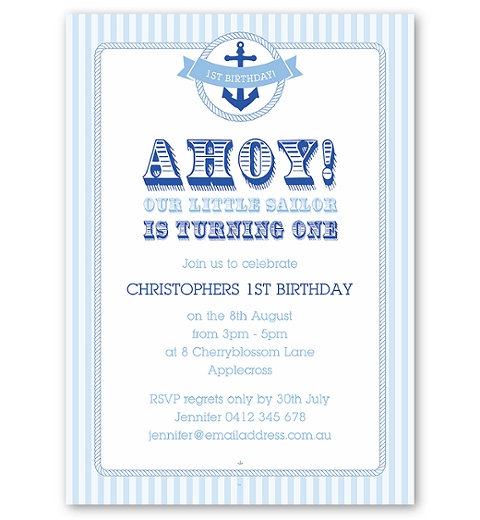 Nautical Birthday Invitation for Boys