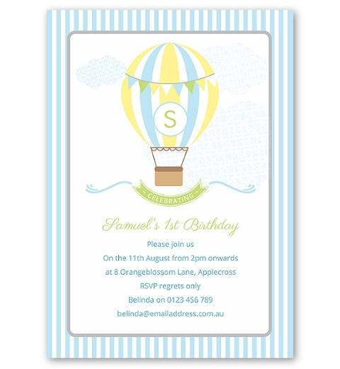 Blue Hot Air Balloon Birthday Invitation
