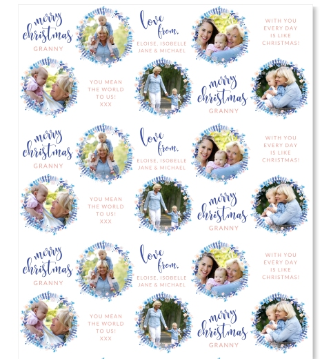 Blue Wreath Christmas Wrap