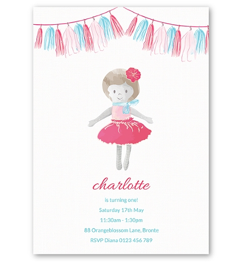 Dolly Birthday Invitation ~ Pink & Blue