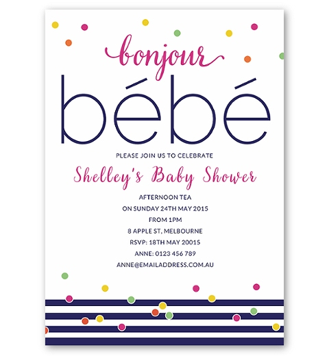 Bonjour Bebe Baby Shower Invitation