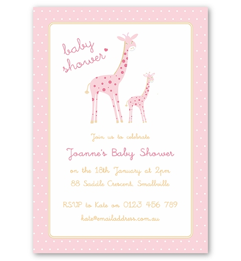 Mama & Bubba Giraffe in Pink Invitation