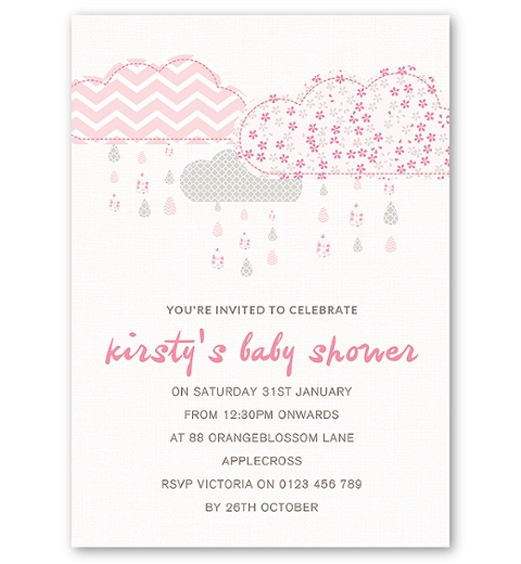 It's Raining Baby Shower in Pink Invitation