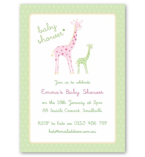 Mama & Bubba Giraffe in Mint Invitation