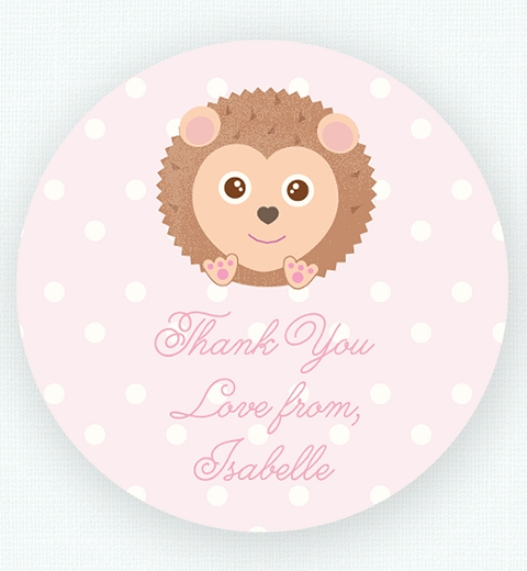 Noah's Ark Pink Thank-you Sticker
