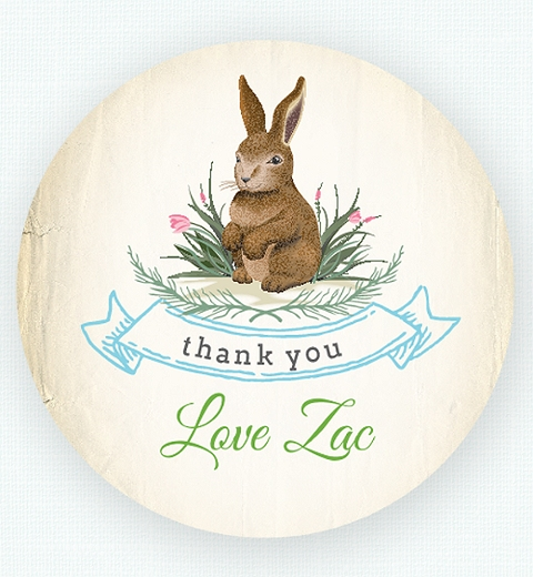 Garden Bunny Thank-you Sticker