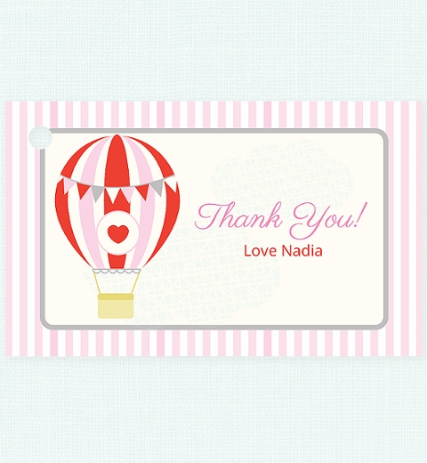 Pink Hot Air Balloon Thank You Tag
