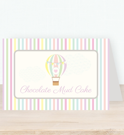 Pastel Hot Air Balloon Tent Card