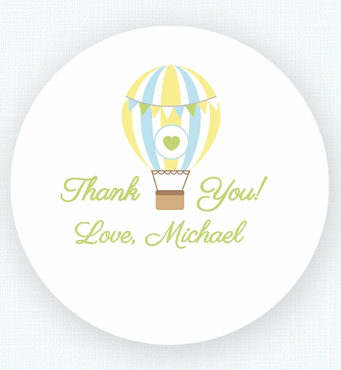 Blue Hot Air Balloon Thank-you Sticker