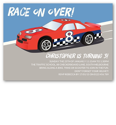 Motorsport Race Car Invitation