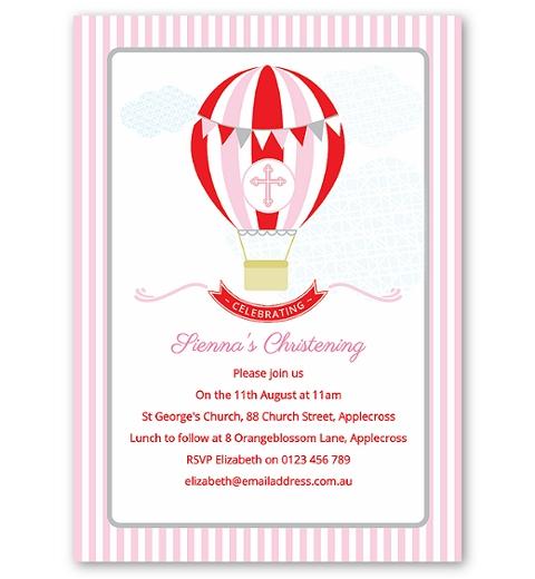 Pink Hot Air Balloon Christening & Baptism Invitation
