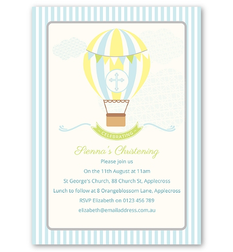 Blue Hot Air Balloon Christening or Baptism Invitation