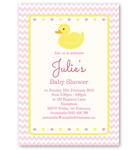 Pink Rubber Ducky Baby Shower Invitation