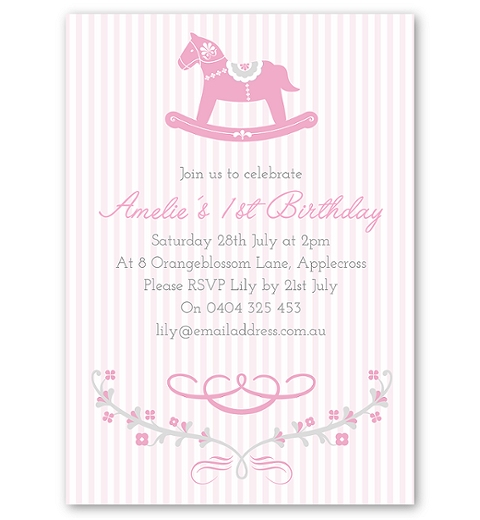 Pink Rocking Horse Birthday Invitation