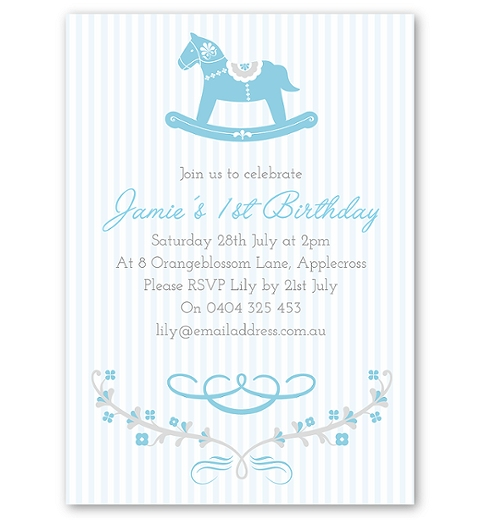 Blue Rocking Horse Birthday Invitation