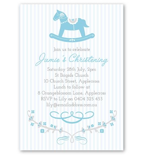 Blue Rocking Horse Christening & Baptism Invitation